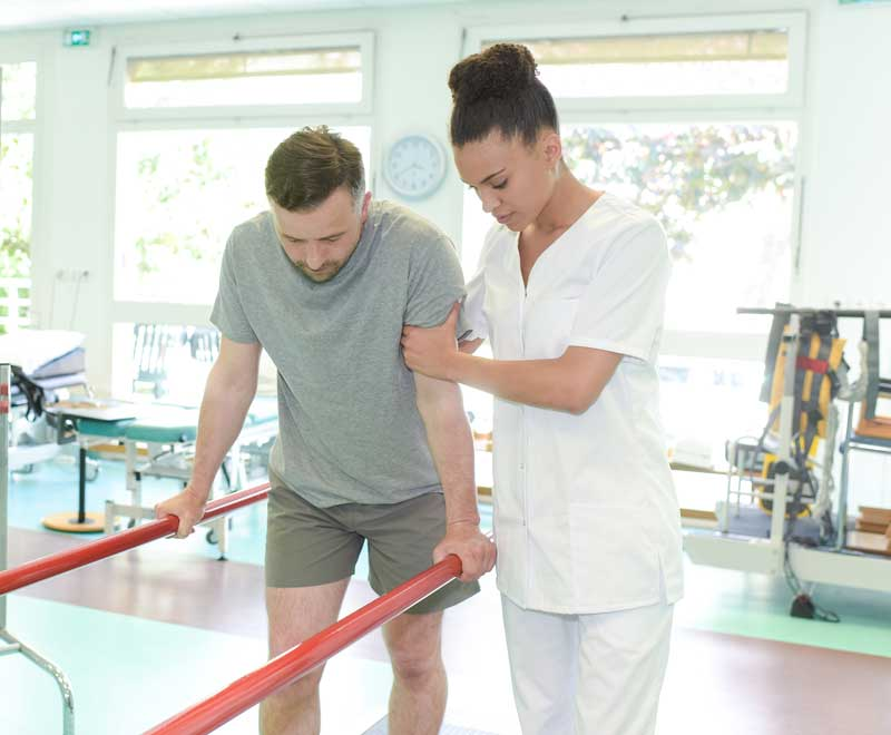 Hip fracture patient learning to walk